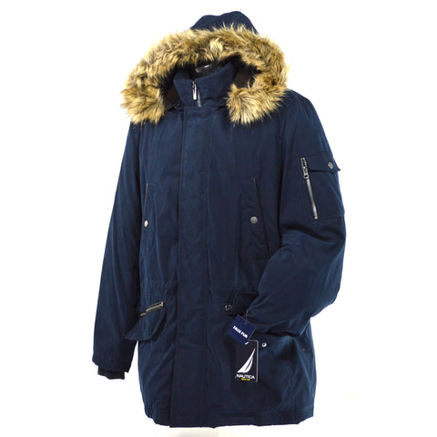 New w/ Tags! NAUTICA MEN'S COAT Faux/Fake Fur HOODED PARKA Dark Navy SIZE: MED.