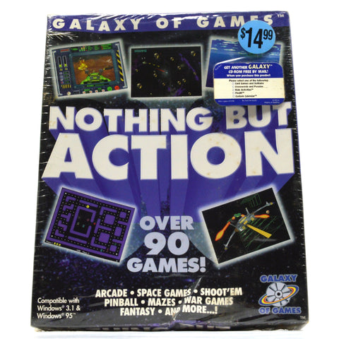 "Brand New! ""NOTHING BUT ACTION"" Sealed! ""GALAXY OF GAMES"" for Windows 3.1 & 95"