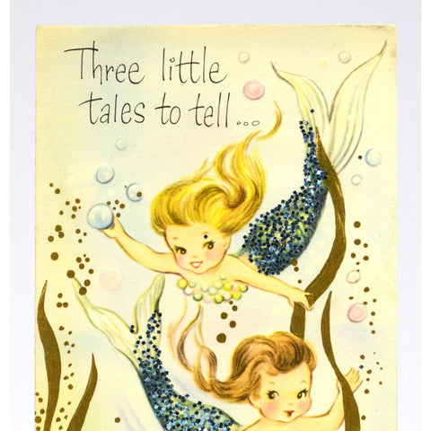 Vintage get well greeting card unused glitter mermaids three vintage get well greeting card unused glitter mermaids three little tales m4hsunfo