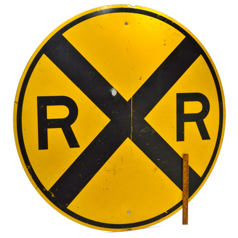 "Vintage STEEL 'RAILROAD CROSSING' STREET SIGN 36"" Road/Traffic ""RR"" SIGNAGE Rare"