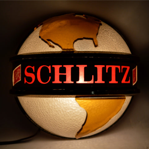 "Vintage 1968 SCHLITZ BREWING CO. WORLD GLOBE 7"" Light-Up ADVERTISING SIGN #83094"