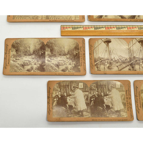 Antique STEREOSCOPE CARD Lot 11 STEREOVIEWS Keystone View c.1895-1900 BATTLESHIP