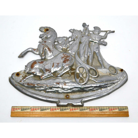 "Antique BRASS/BRONZE NICKEL-PLATED PLAQUE 13"" Wall Sculpture 'GLADIATOR CHARIOT'"