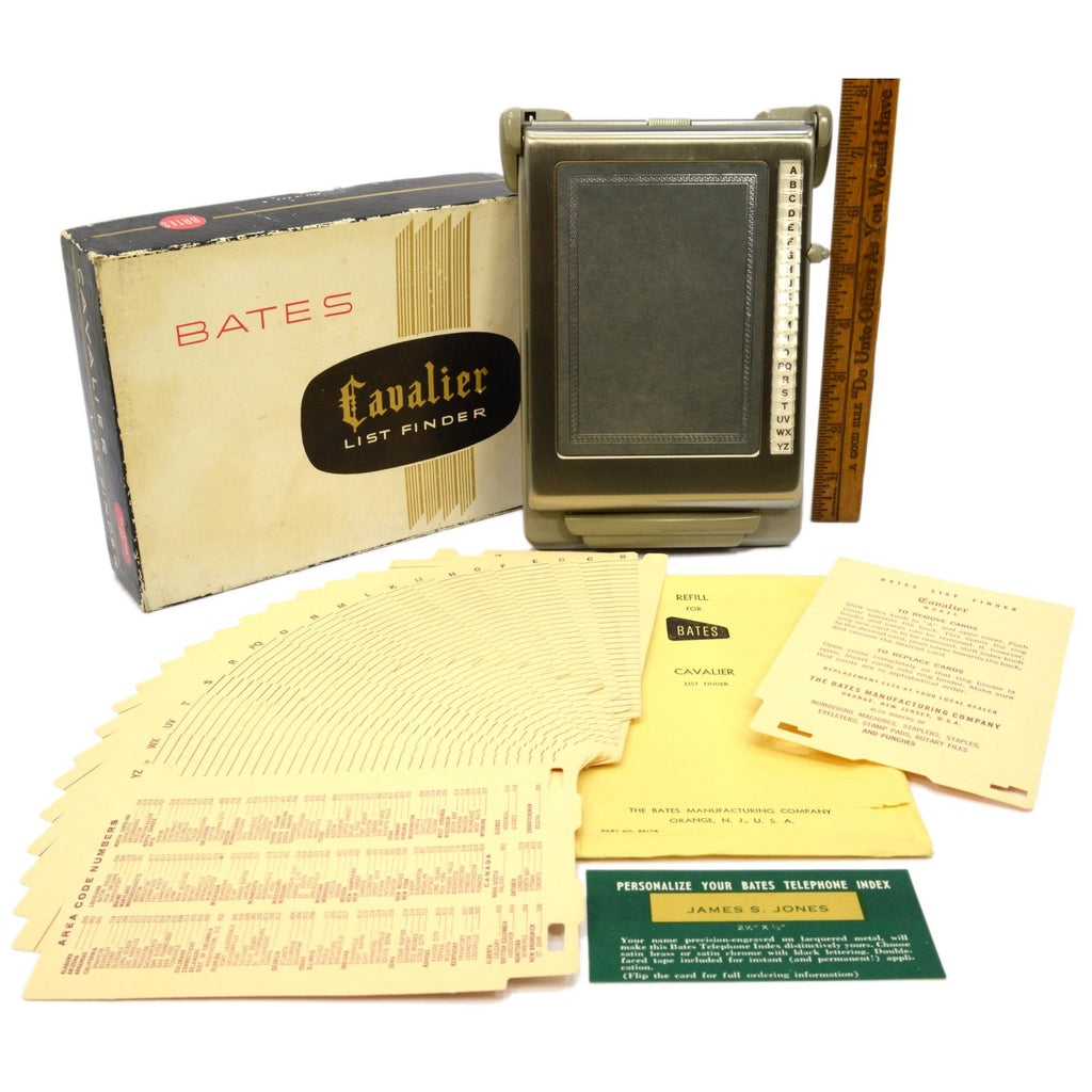 "New Old Stock BATES ""CAVALIER"" LIST FINDER Complete in Box PATENT PENDING Silver"