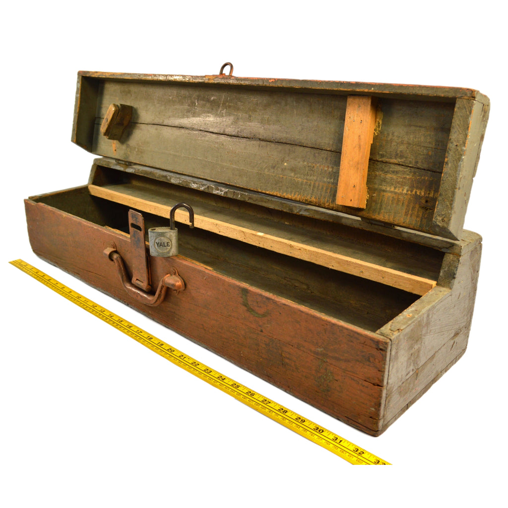 Antique HOMEMADE SAW TOOL BOX Carpenter's Chest + BONUS YALE PADLOCK Old Paint!
