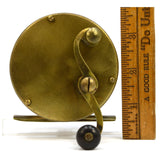 "Antique ALL BRASS FISHING REEL Marked ""250"" Only UNKNOWN MAKER Curved ""S"" Handle"