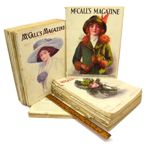 Antique McCALL'S MAGAZINE BACK-ISSUE Lot; 24 Issues from 1906-1912 w/ 14 Covers!