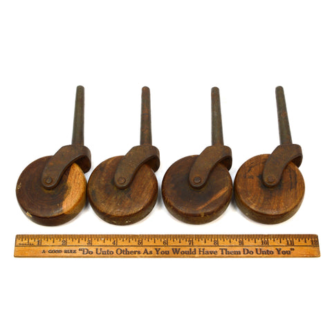 "Antique CASTER WHEELS Set of 4 IRON STEM CASTERS 2-7/8"" Single WOOD WHEEL Patina"