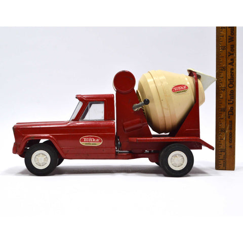 Vintage MINI TONKA TRUCK CEMENT MIXER Red No. 77 c.1960 PRESSED STEEL Nice One!