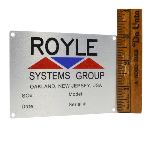 "Vintage ""ROYLE SYSTEMS GROUP"" Aluminum MACHINE TAGS Machinery Nameplate NOS New!"