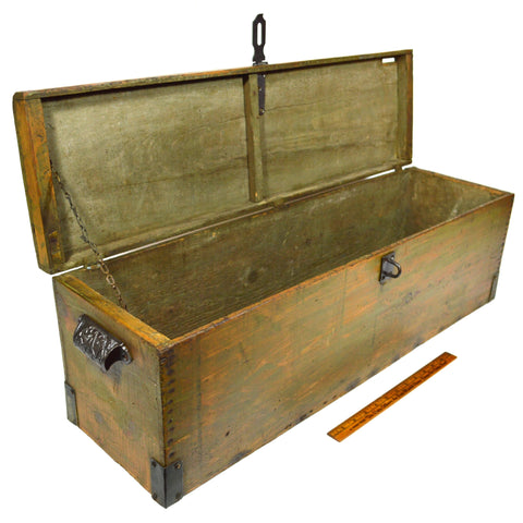 Antique WOOD LOCK BOX 31x9x10 CAST IRON HARDWARE Long & Skinny OLD GREEN PAINT!