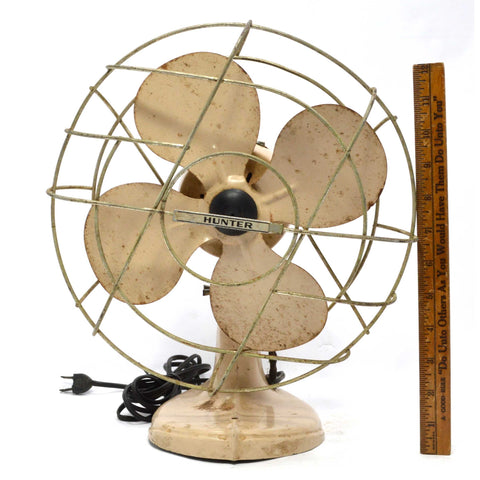 "Vintage ""HUNTER"" ELECTRIC FAN 4-Blade 10"" TAN-BEIGE Mid-Century ART DECO Works!!"