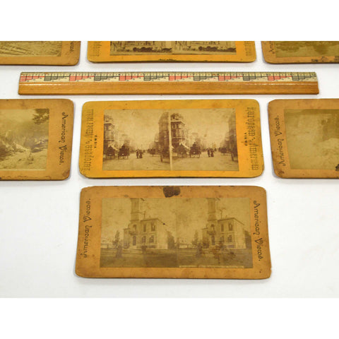 "Antique STEREOSCOPE CARD Lot of 9 ""EUROPEAN-AMERICAN"" & ""AMERICAN"" Stereoviews"