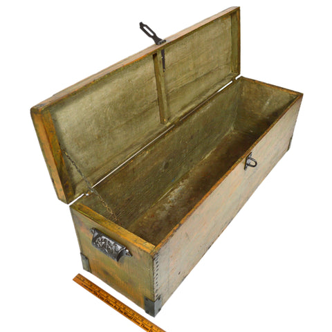 Antique Wood Lock Box 31x9x10 Cast Iron Hardware Long Skinny Old Green Paint