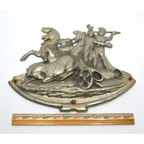 "Antique NICKEL-PLATED BRASS/BRONZE PLAQUE 13"" Wall Sculpture ROMAN CHARIOT MOTIF"