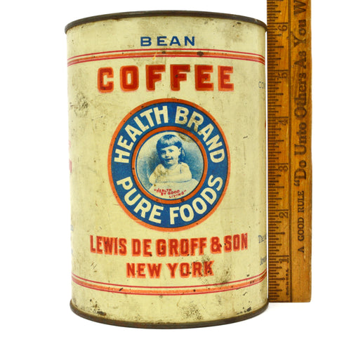 "Antique HEALTH BRAND PURE FOODS ""BEAN"" COFFEE TIN Very Rare! LEWIS DeGROFF & SON"