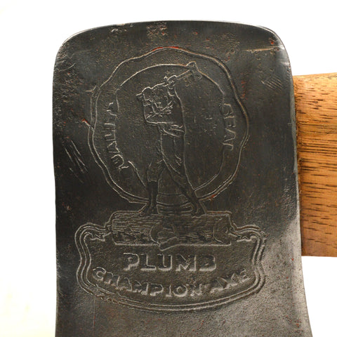 "Vintage PLUMB ""CHAMPION"" AXE Single Bit EMBOSSED ""QUALITY SEAL"" LOGO 36"" Handle!"
