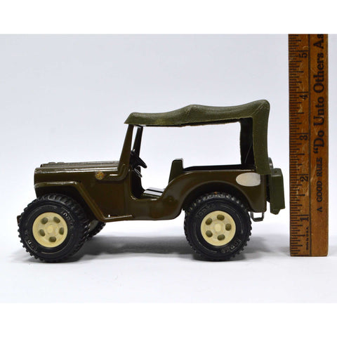 Vintage MINI TONKA TRUCK 'ARMY JEEP' w/ Original CANOPY c.1960 Old PRESSED STEEL