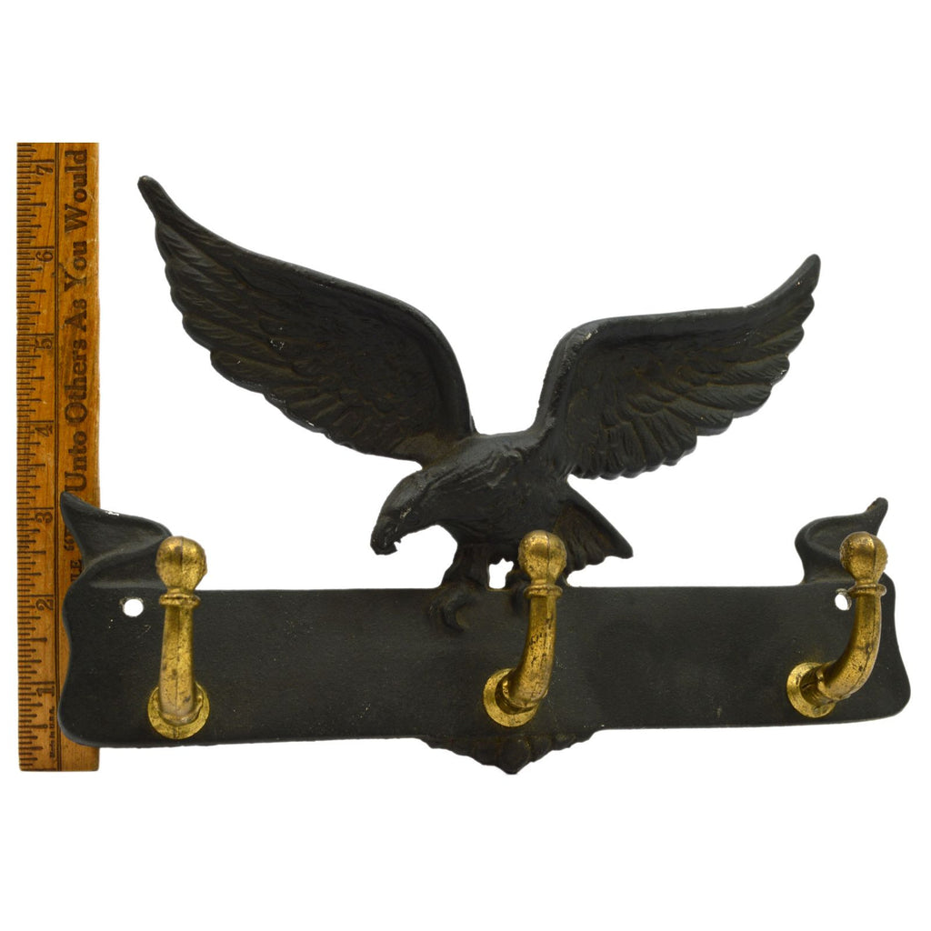 Vintage CAST IRON & BRASS COAT RACK Perched Eagle 3-HOOKS Wall-Mounted PATINA!!