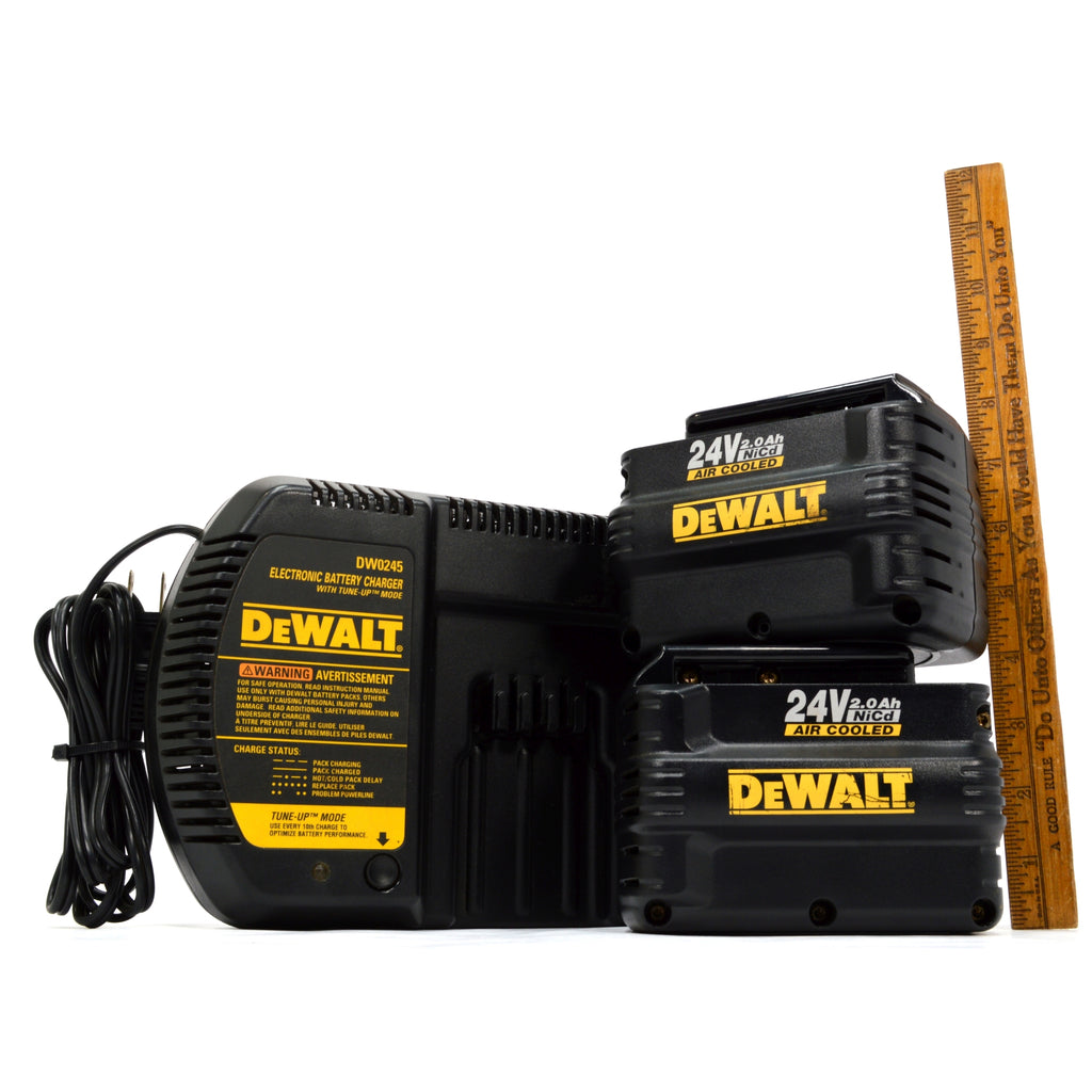Briefly Used DeWALT DW0245 CHARGER w/ Tune-Up Mode + (2) 24v NiCd BATTERY PACKS!