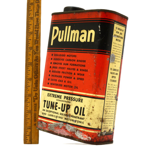 "Vintage PULLMAN CHEMICAL TIN CAN Very Rare! ""EXTREME PRESSURE TUNE-UP OIL"" Quart"