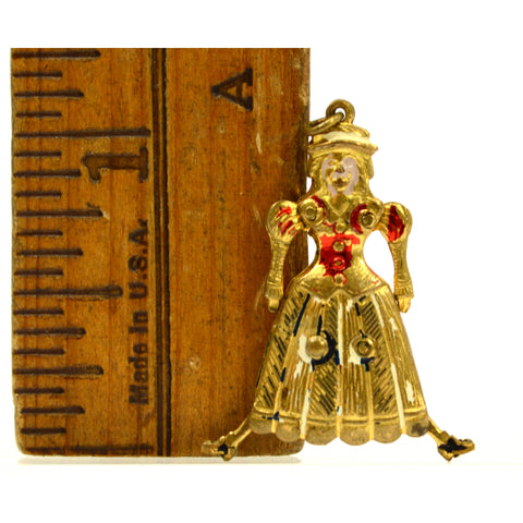 Antique VICTORIAN 'MOTHER-LADY-GIRL' CHARM for Bracelet ARTICULATED Gold-Gilded