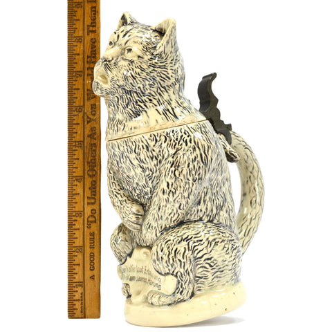 Antique GERMAN CHARACTER BEER STEIN Drunk HUNGOVER CAT #1000 Steinzeugwerke 19th