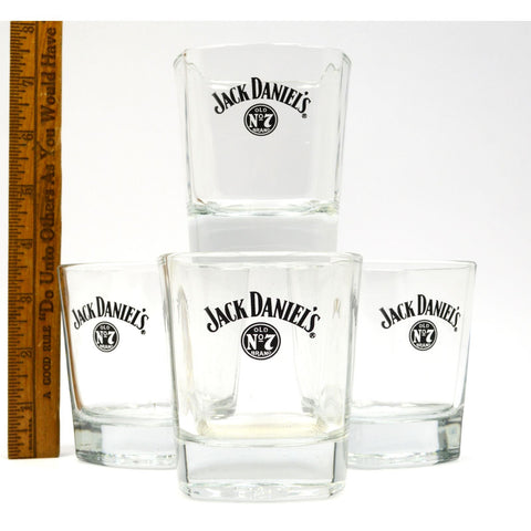 "Excellent! JACK DANIELS Old No. 7 WHISKEY TUMBLER Set of 4 GLASS TUMBLERS, 3.5""T"