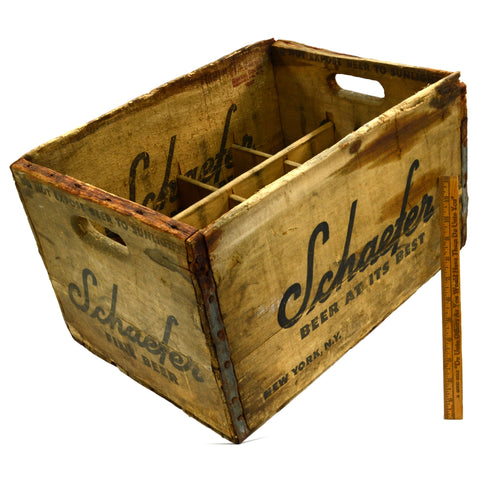 "Vintage SCHAEFER ""BEER AT ITS BEST"" CRATE General Box c.1942 w/ 12 DIVIDED SLOTS"
