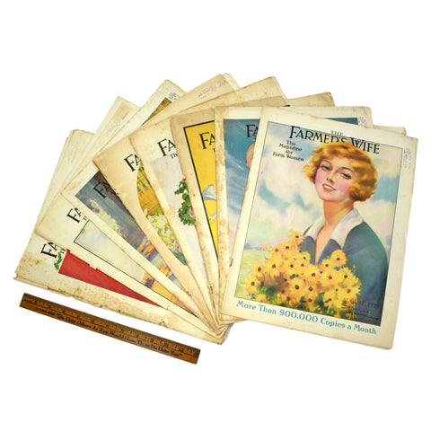 "Antique ""THE FARMER'S WIFE"" MAGAZINES Lot of 14 BACK-ISSUES 8-Covers! 1929-1930"