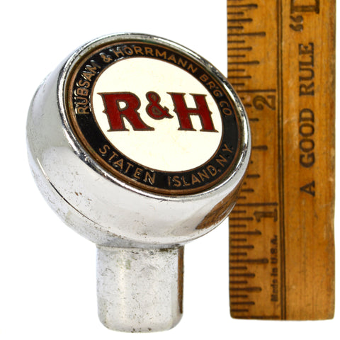 "Vintage ""R&H"" RUBSAM & HORRMANN BREWING CO BEER TAP Chrome BALL KNOB c.1946 RARE"