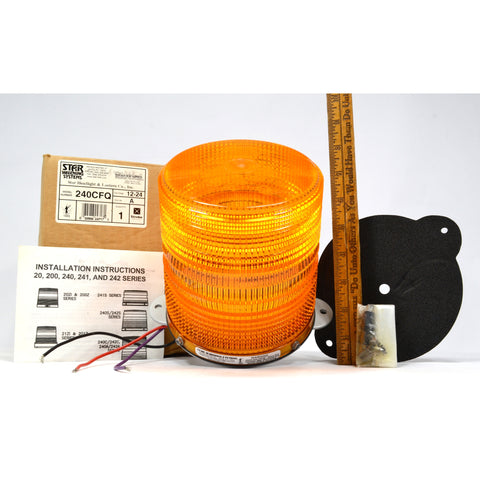 "New in Box! STAR WARNING SYSTEMS Mo. 240CFQ STROBE LIGHT Color ""A"" Orange-Amber"