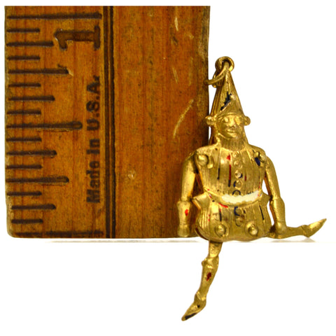 Antique FAIRYTALE 'COURT JESTER / FOOL' CHARM for Bracelet ARTICULATED Gold-Gilt