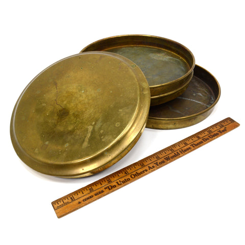 "VTG/Antique 8"" ROUND BRASS CONTAINER 2-Tiered/Nesting w/ Lid! NAUTICAL/MILITARY?"