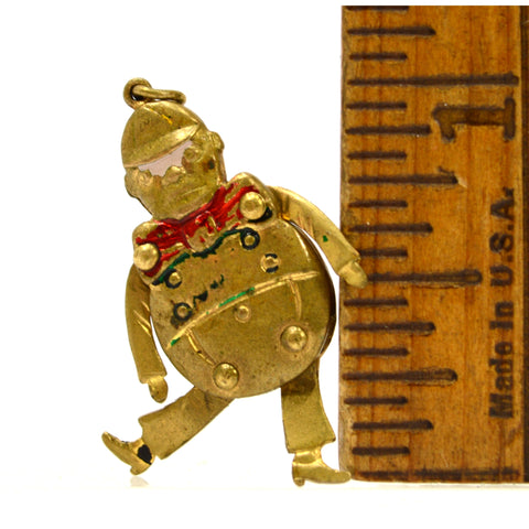 Antique FAIRYTALE 'HUMPTY DUMPTY' CHARM for Bracelet ARTICULATED LIMBS Gold-Gilt