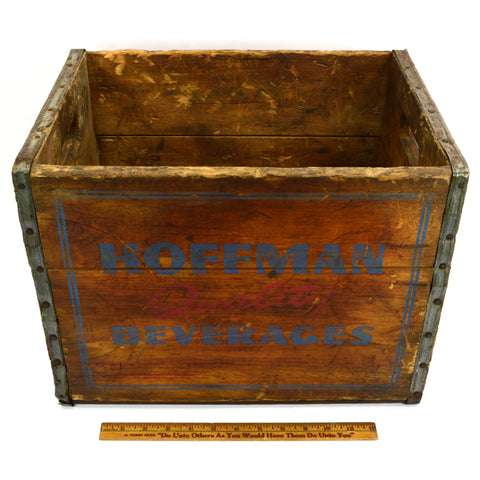 "Vintage HOFFMAN BEVERAGE CO. BEER CRATE Wood Box ""QUALITY BEVERAGES"" Newark, NJ"