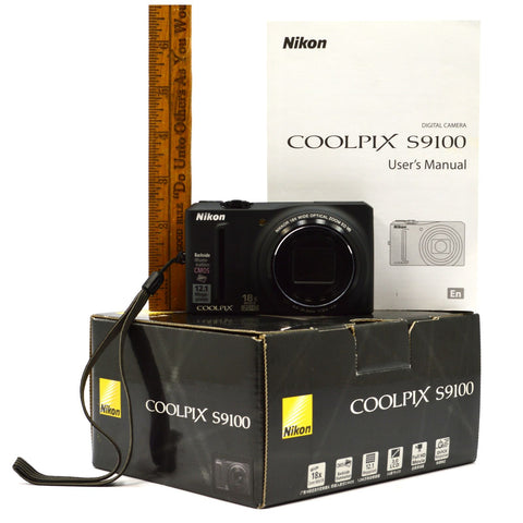 New in Opened Box NIKON COOLPIX No. S9100 DIGITAL CAMERA Black 12.1 MP Complete!