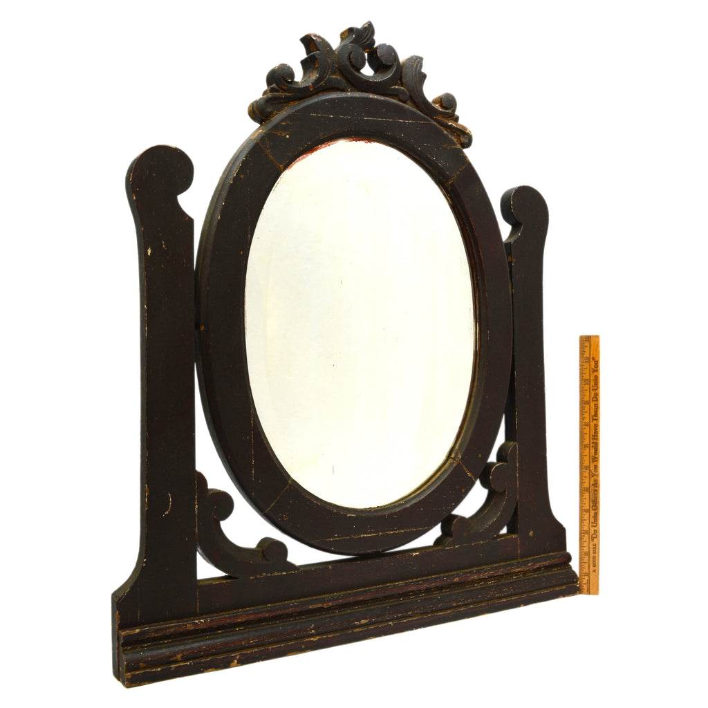 "Antique HARDWOOD DRESSER/VANITY MIRROR 11""x15"" Beveled Oval SALVAGED c.19th/20th"
