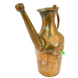 Antique TINNED COPPER & BRASS EWER Wonderfully Crude! WATER PITCHER Carafe c19th