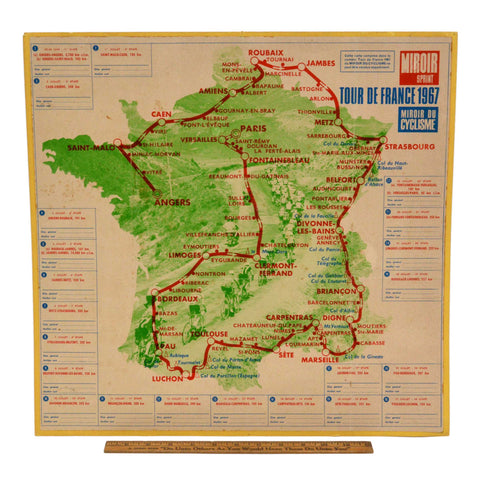 "Vintage TOUR DE FRANCE 1967 ""MIROIR SPRINT"" MAP 18"" Cycling Poster EPHEMERA Rare"