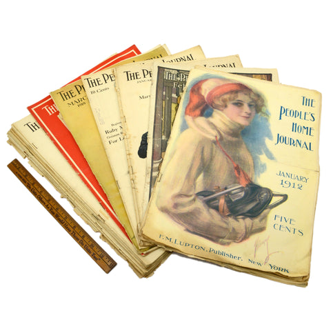 Antique THE PEOPLE'S HOME JOURNAL MAGAZINES Lot; 18 Back-Issues 1909-18 OLD ADS!