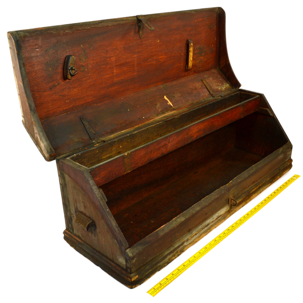 Antique Carpenters Tool Box Big 38 Walnut Wood Chest Unusual Slope Front C19th