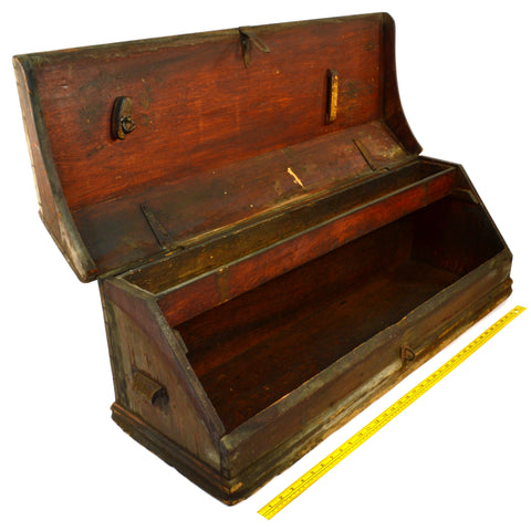 "Antique CARPENTERS TOOL BOX Big 38"" WALNUT WOOD CHEST Unusual SLOPE-FRONT c.19th"