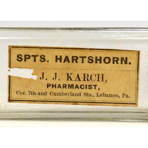 "Antique MEDICINE BOTTLE ""HARTSHORN"" by PHARMACIST J.J. KARCH Lebanon, PA. Rare!!"