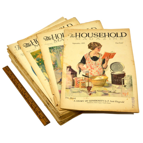 "Antique ""THE HOUSEHOLD MAGAZINE"" Lot of 23 Back-Issues 1925-31, ALL WITH COVERS!"