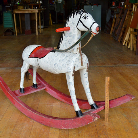 Antique LARGE WOODEN ROCKING HORSE Kid/Child Size 41x15x28 HOMEMADE Hand-Carved