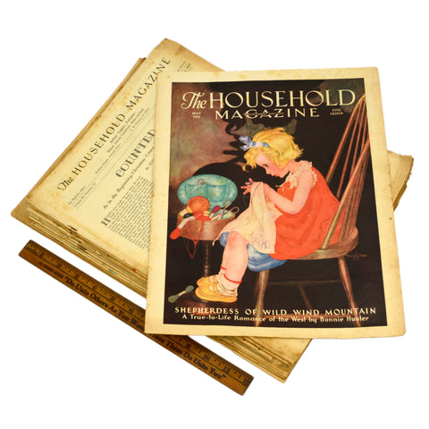 "Antique ""THE HOUSEHOLD MAGAZINE"" Lot of 13 Back-Issues 1927-41 +BONUS 1935 COVER"