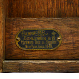 Antique HAMMACHER SCHLEMMER & CO. TOOL BOX Beautiful Oak Wood WALL CABINET Rare!