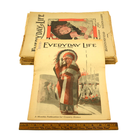 "Antique ""EVERYDAY LIFE"" MAGAZINES Lot of 29 BACK-ISSUES Chicago, IL c.1911-1930"