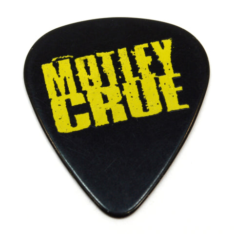 "Original MOTLEY CRUE TOUR GUITAR PICK Yellow on Black ""MICK MARS"" Signature Pic"